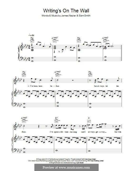 Writing's on the Wall (from James Bond: Spectre): Für Stimme und Klavier (oder Gitarre) by Samuel Smith, James Napier