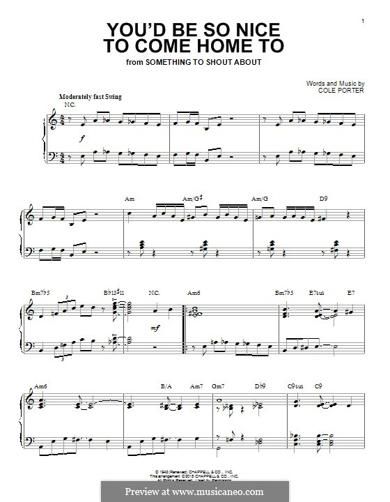 You'd Be So Nice to Come Home to: Für Klavier by Cole Porter