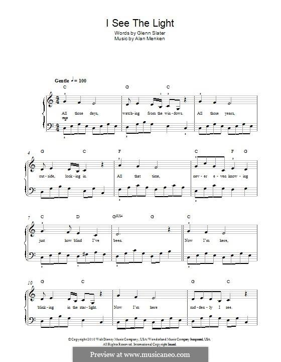 I See the Light: Für Klavier by Alan Menken