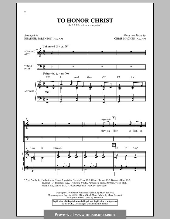 To Honor Christ: Für gemischten Chor by Chris Machen