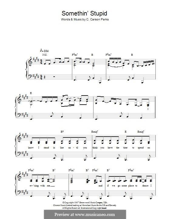 Somethin' Stupid (Frank Sinatra): Für Stimme und Klavier by C. Carson Parks