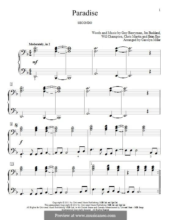 Paradise (Coldplay): Für Klavier by Brian Eno, Chris Martin, Guy Berryman, Jonny Buckland, Will Champion