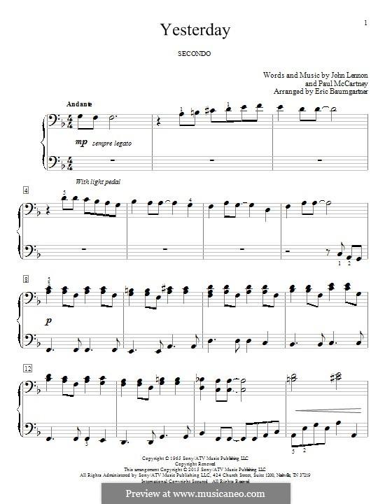 Yesterday, for Piano (The Beatles): Für einen Interpreten by John Lennon, Paul McCartney