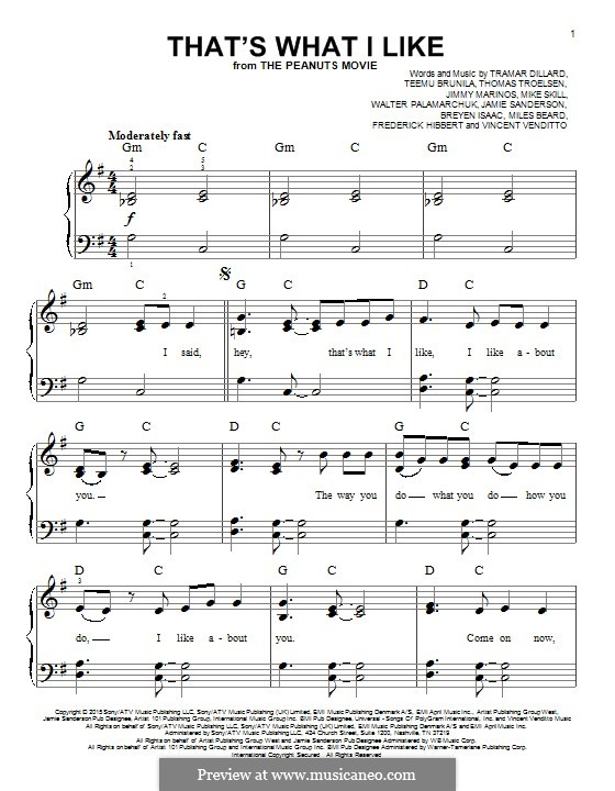 That's What I Like (Flo Rida): Für Klavier by Jimmy Marinos, Michael Skill, Flo Rida, Frederick Hibbert, Teemu Brunila, Jamie Sanderson, Thomas Troelsen, Miles Beard, Vincent Venditto