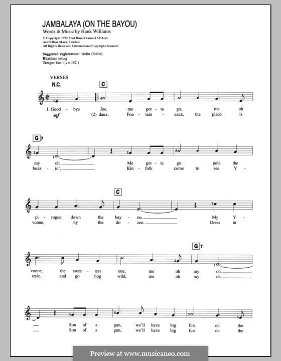 Jambalaya (On the Bayou): Für Keyboard by Hank Williams