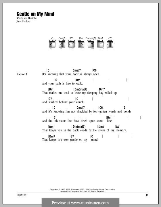 Gentle On My Mind: Text und Akkorde by John Hartford