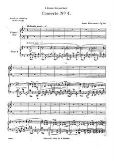 Konzert für Klavier und Orchester Nr.4 in d-Moll, Op.70: Teil I. Version für zwei Klaviere, vierhändig by Anton Rubinstein