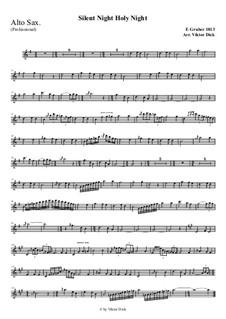 Stille Nacht, heilige Nacht, für Solo Instrument: For alto saxophone (professional version) by Franz Xaver Gruber