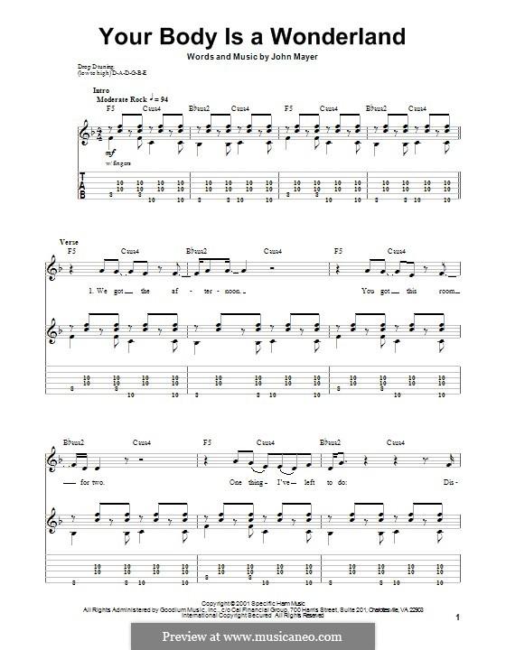 Your Body Is a Wonderland: Für Gitarre mit Tabulatur by John Mayer