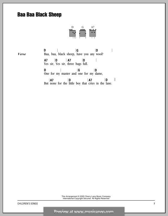 Baa Baa Black Sheep: Text und Akkorde by folklore