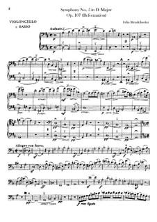 Sinfonie Nr.5 in D-Dur 'Reformations-Sinfonie', Op.107: Cello- und Kontrabass-Stimme by Felix Mendelssohn-Bartholdy