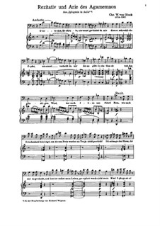 Iphigénie en Aulide, Wq.40: O, Artemis, Erzürnte, umsont gebust du mir by Christoph Willibald Gluck