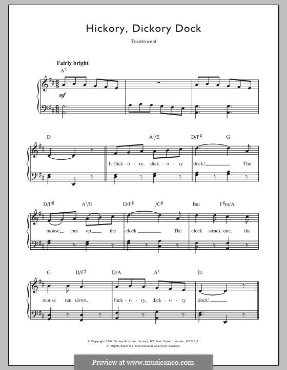 Hickory Dickory Dock: Für Stimme und Klavier by folklore