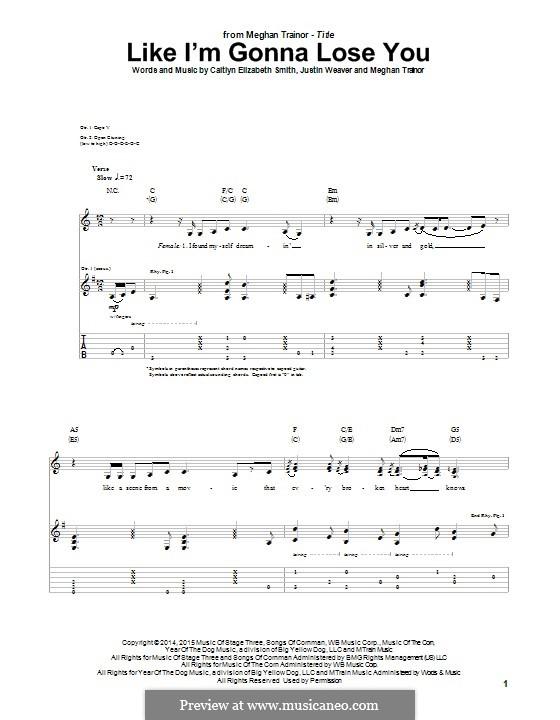 Like I'm Gonna Lose You: Für Gitarre mit Tabulatur by Justin Weaver, Caitlyn Smith, Meghan Trainor