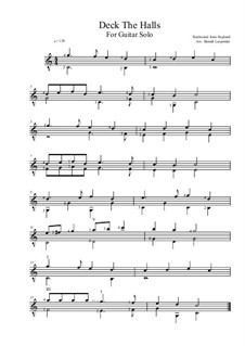 Deck the Hall: For guitar solo (C Major) by folklore