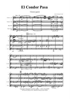 El condor pasa: For clarinet quartet by folklore
