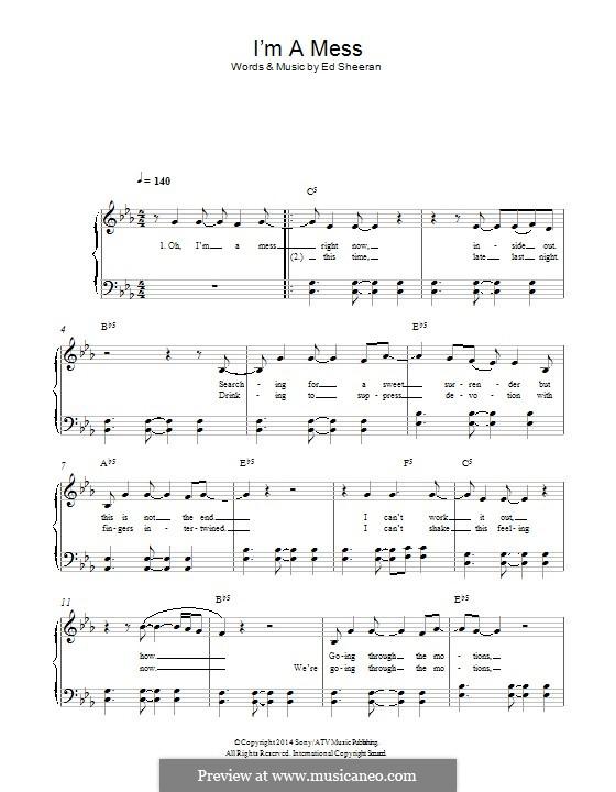 I'm a Mess: Für Klavier by Ed Sheeran