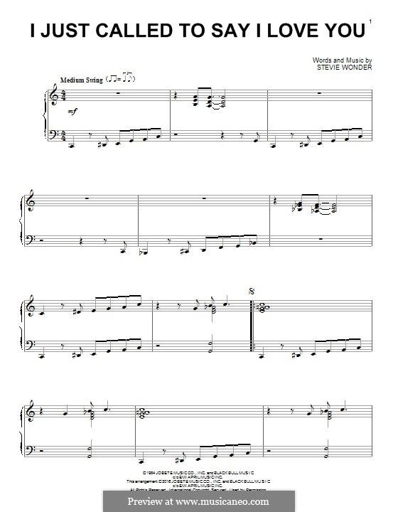 I Just Called to Say I Love You: Für Klavier by Stevie Wonder