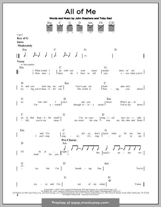 All of Me: Text und Akkorde by John Stephens, Tobias Gad