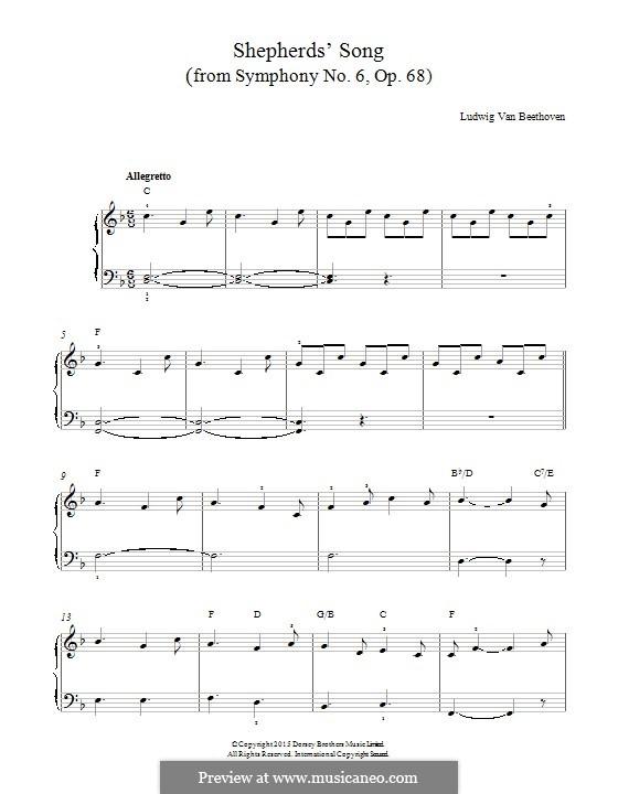 Teil V. Der Hirtengesang - Frohe, dankbare Gefühle nach dem Sturm: Für Klavier by Ludwig van Beethoven