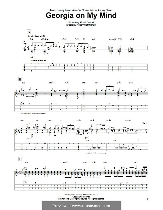 Georgia on My Mind: For guitar with tab (Lenny Breau) by Hoagy Carmichael