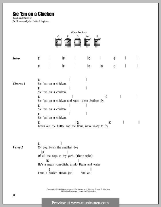 Sic 'Em on a Chicken (Zac Brown Band): Text und Akkorde by John Driskell Hopkins, Zac Brown