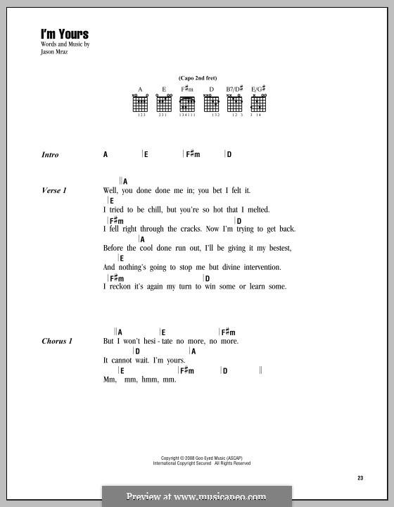 I'm Yours: Text und Akkorde by Jason Mraz