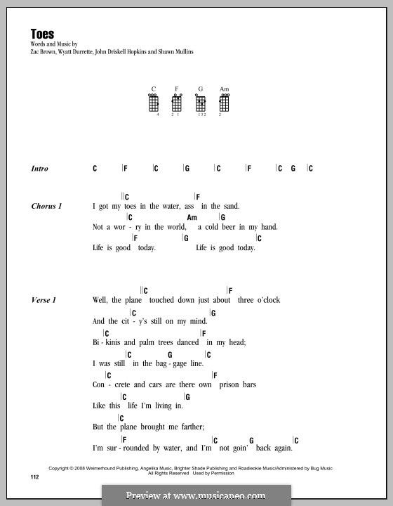 Toes (Zac Brown Band): Für Ukulele by John Driskell Hopkins, Shawn Mullins, Wyatt Durrette, Zac Brown