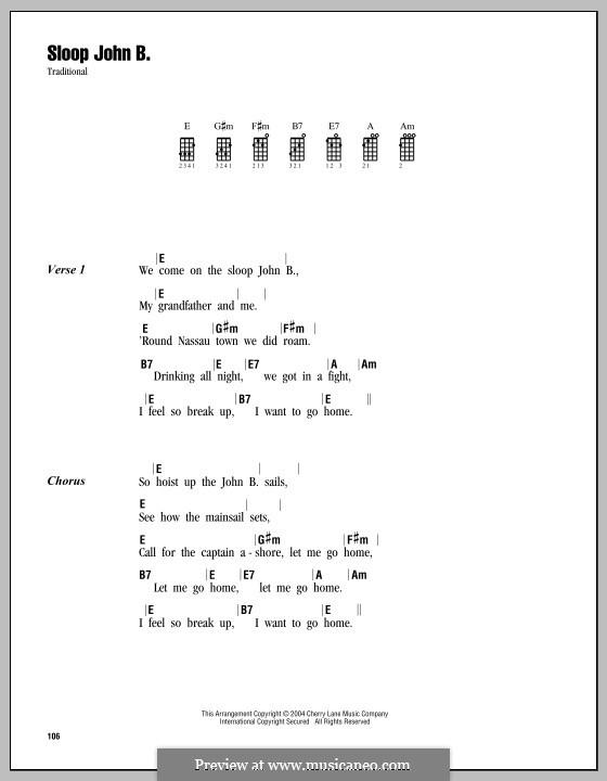 Sloop John B (The Beach Boys): Für Ukulele by folklore