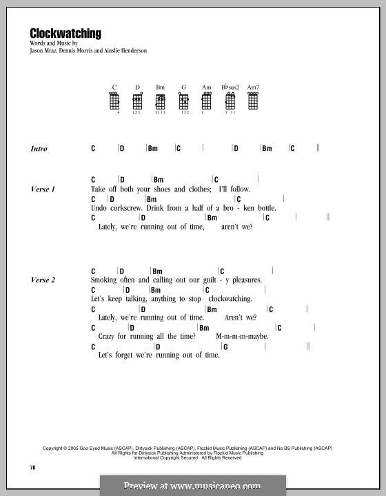Clockwatching (Jason Mraz): Für Ukulele by Ainslie Henderson, Dennis Morris