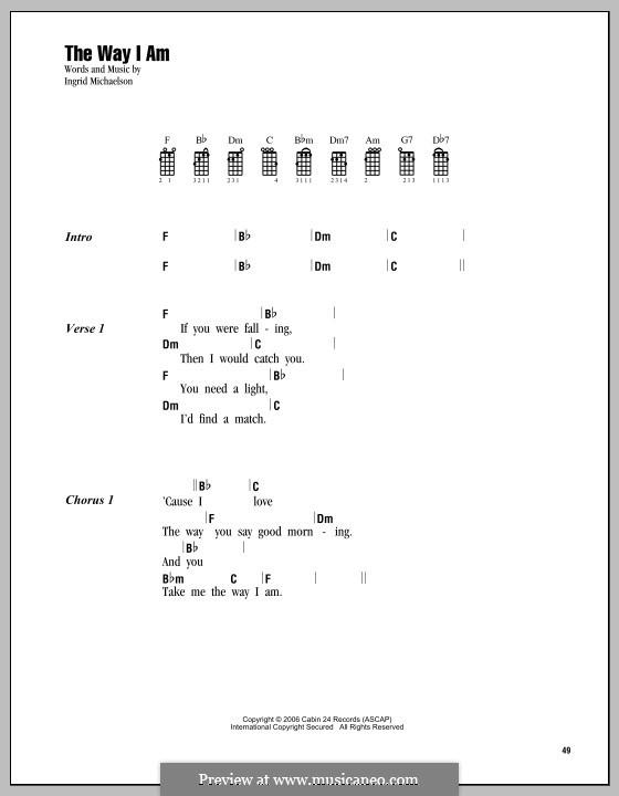 The Way I Am: Für Ukulele by Ingrid Michaelson