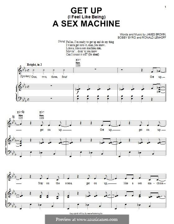 Get Up (I Feel Like Being) A Sex Machine: Für Stimme und Klavier (oder Gitarre) by Bobby Byrd, James Brown, Ronald Lenhoff