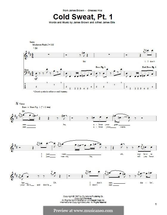 Cold Sweat, Pt.1: Für Bassgitarre mit Tabulatur by Alfred Ellis, James Brown