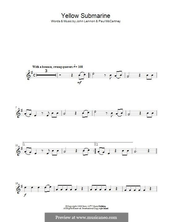 Yellow Submarine (The Beatles): Für Altsaxophon by John Lennon, Paul McCartney