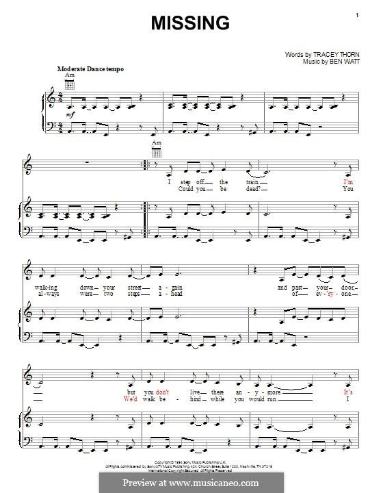 Missing (Everything But the Girl): Für Stimme und Klavier (oder Gitarre) by Benjamin Watt