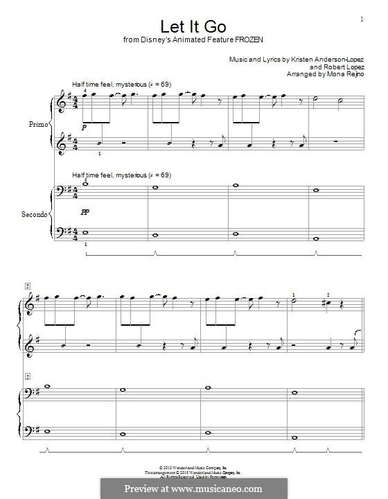 Let It Go (from Frozen): Für Klavier, vierhändig by Robert Lopez, Kristen Anderson-Lopez
