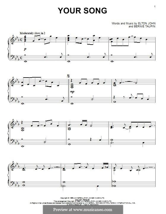 Your Song: Für Klavier by Elton John