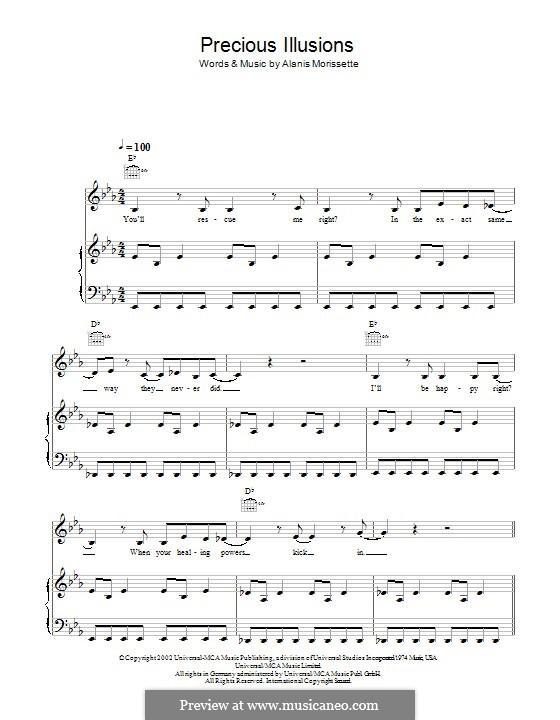 Precious Illusions: Für Stimme und Klavier (oder Gitarre) by Alanis Morissette
