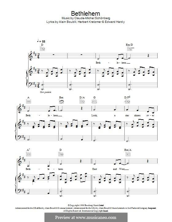 Bethlehem: Für Stimme und Klavier (oder Gitarre) by Claude-Michel Schönberg