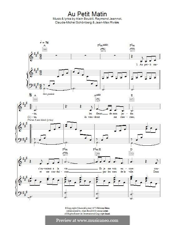 Au Petit Matin: Für Stimme und Klavier (oder Gitarre) by Claude-Michel Schönberg