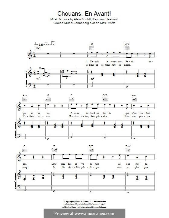 Chouans, en Avant: Für Stimme und Klavier (oder Gitarre) by Claude-Michel Schönberg