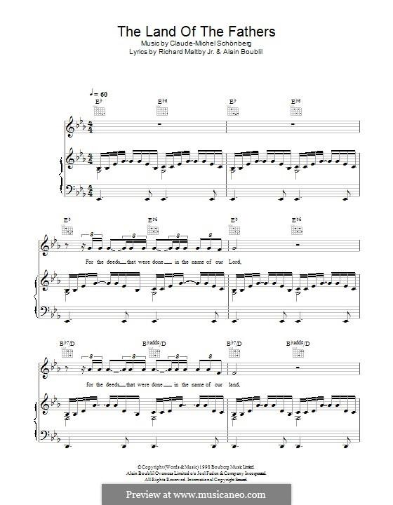 The Land of the Fathers: Für Stimme und Klavier (oder Gitarre) by Claude-Michel Schönberg