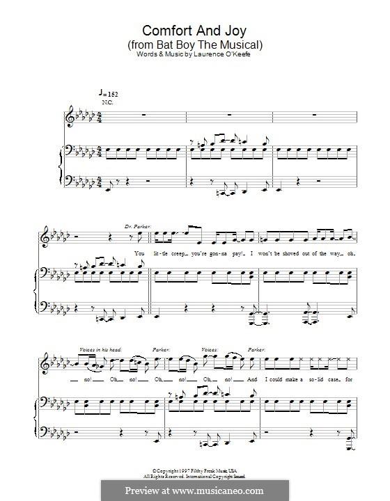 Comfort and Joy (from Bat Boy the Musical): Für Stimme und Klavier (oder Gitarre) by Laurence O'Keefe