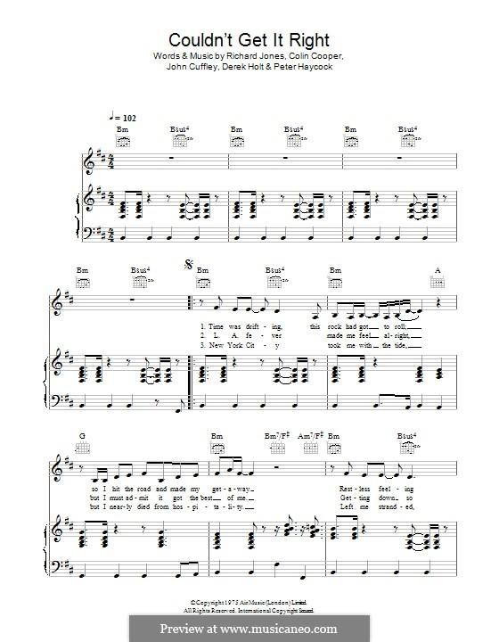 Couldn't Get It Right (Climax Blues Band): Für Stimme und Klavier (oder Gitarre) by Colin Cooper, John Cuffley, Derek Holt, Peter Haycock, Richard Jones