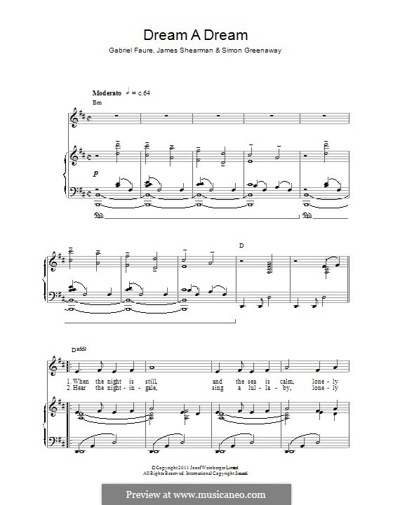 Dream a Dream: Für Stimme und Klavier (oder Gitarre) by Gabriel Fauré, James Shearman, Simon Greenaway
