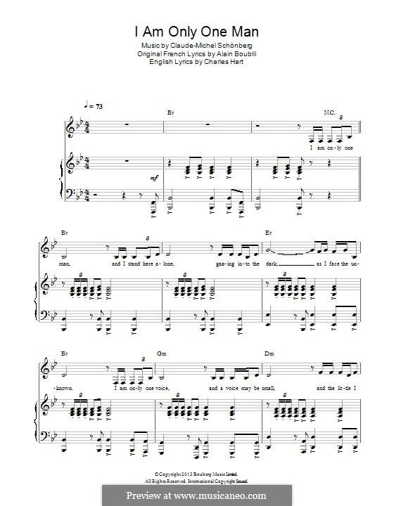 I am Only One Man: Für Stimme und Klavier by Claude-Michel Schönberg