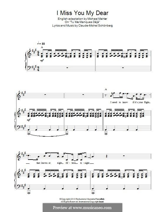 I Miss You My Dear: Für Stimme und Klavier by Claude-Michel Schönberg
