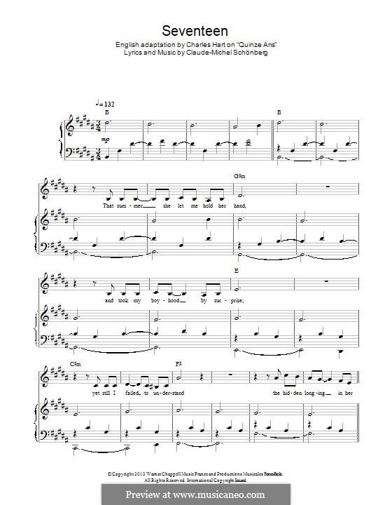 Seventeen: Für Stimme und Klavier by Claude-Michel Schönberg