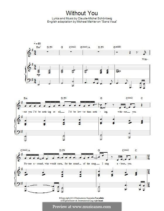 Without You: Für Stimme und Klavier by Claude-Michel Schönberg