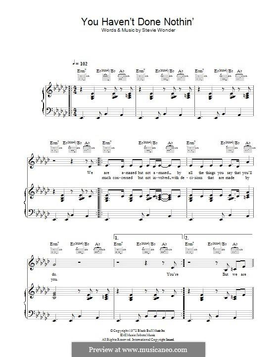You Haven't done Nothin': Für Stimme und Klavier (oder Gitarre) by Stevie Wonder